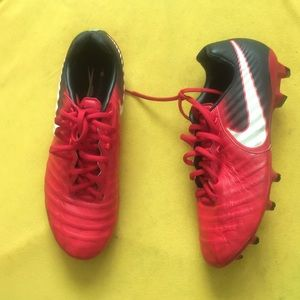 Nike Tempo Cleats Red & Black